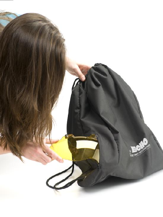 Hands free helmet bag at events